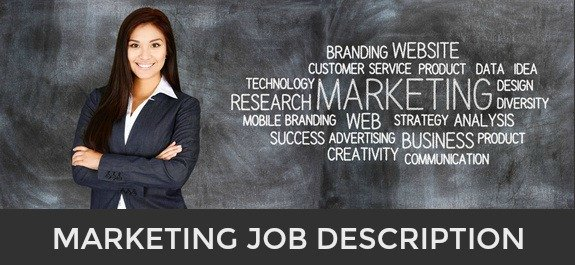 Businesswoman sanding in front of board with marketing-related words