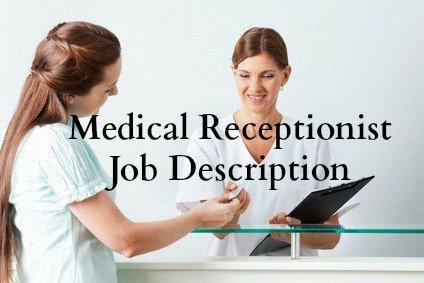 Medical receptionist assisting a patient at reception desk