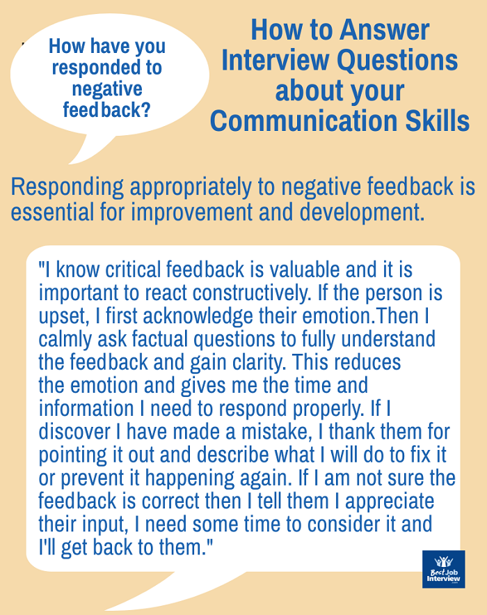 How do you respond to negative feedback? sample interview answer text
