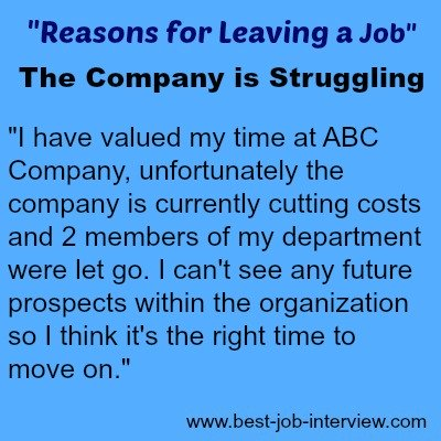 Reason for Leaving a Job sample interview answer text