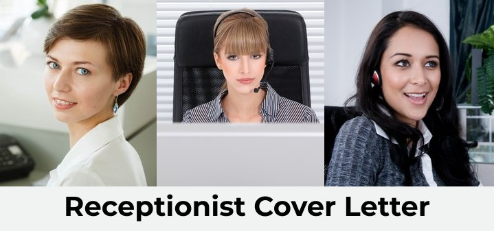 Collage of 3 receptionists at work with writing