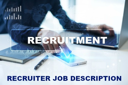 Recruiter at computer with words