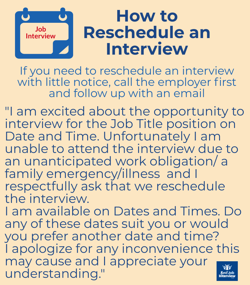 How to reschedule an interview - what to say in text