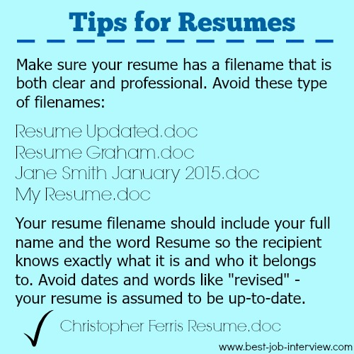Tips for Resumes - create a professional resume filename