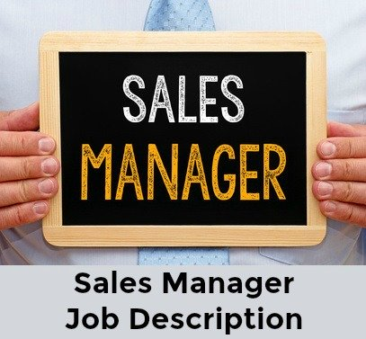 Businessman holding board with words Sales Manager written on it