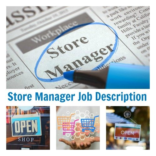 Collage of store management related images