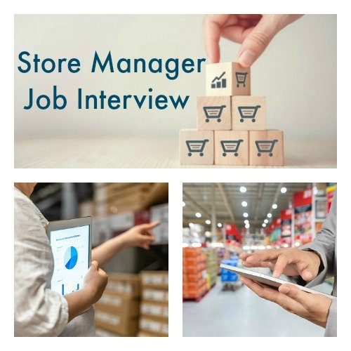 Store managers in 3 work contexts with text