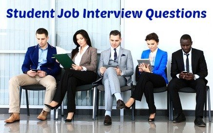 5 young job candidates waiting on chairs for an interview with writing