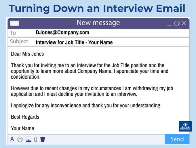 Example of email turning down a job interview